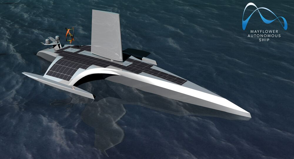 CGI Visualisation of the Mayflower Autonomous Ship at sea, with the wingsail and the solar panels propelling the ship visible