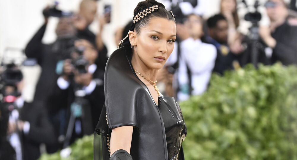 Bella Hadid attends The Metropolitan Museum of Art's Costume Institute benefit gala celebrating the opening of the Heavenly Bodies: Fashion and the Catholic Imagination exhibition on Monday, May 7, 2018, in New York.