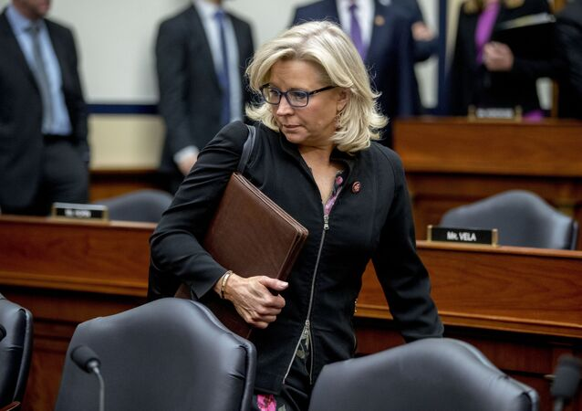 FILE - In this Tuesday, April 2, 2019 file photo Rep. Liz Cheney, R-Wyo., arrives for a House Armed Services Committee budget hearing on Capitol Hill in Washington