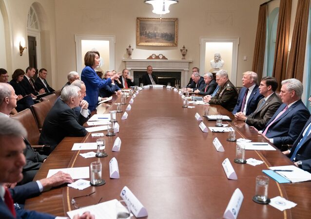 Pelosi, Trump, White House meeting on Syria (10/16/19)