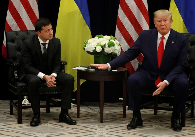 U.S. President Donald Trump speaks during a bilateral meeting with Ukraine's President Volodymyr Zelenskiy on the sidelines of the 74th session of the United Nations General Assembly (UNGA) in New York City, New York, U.S., September 25, 2019