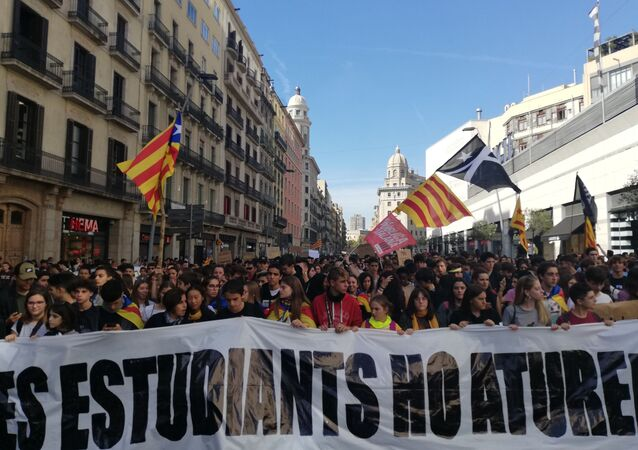 Student rally in Barcelona