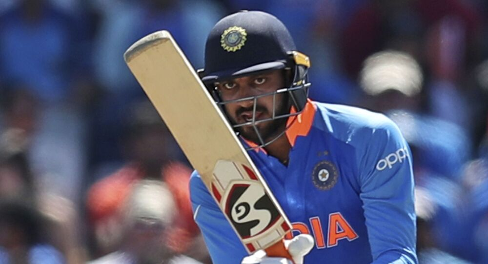 India's Vijay Shankar bats during the Cricket World Cup match between India and West Indies at Old Trafford in Manchester, England, Thursday, June 27, 2019