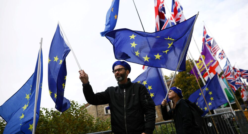 Anti-Brexit protesters demonstrate outside the Houses of Parliament in London, Britain, October 17, 2019
