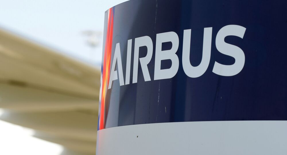 Logo of Airbus at Colomiers near Toulouse, France, September 27, 2019