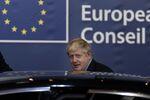 British Prime Minister Boris Johnson leaves a European Union Summit at European Union Headquarters in Brussels on October 18, 2019.
