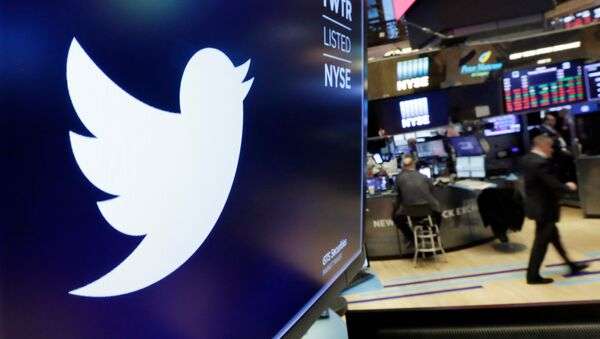FILE - In this Feb. 8, 2018, file photo, the logo for Twitter is displayed above a trading post on the floor of the New York Stock Exchange - Sputnik International