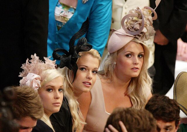 Earl Spencer's daughters, Lady Amelia, Lady Eliza and Lady Kitty wait for the wedding ceremony for Britain's Prince William and Kate Middleton to start inside Westminster Abbey in London on April 29, 2011.