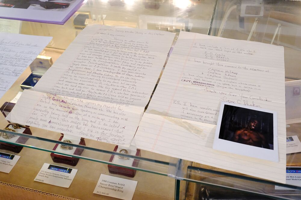 A Tupac Shakur Two-Page handwritten & signed letter from prison to the Deputy Warden of Rikers Island Prison for auction at Gotta Have It! store on July 19, 2017 in New York City. Shakur was sentenced to prison on sexual-assault charges in 1995.