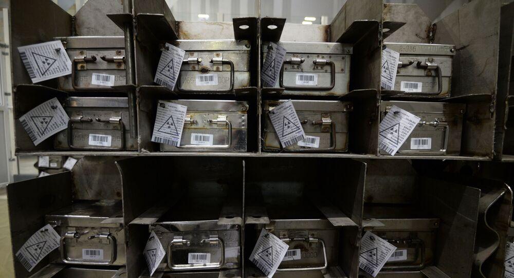 Packages of fuel pellets of uranium dioxide at Novosibirsk Chemical Concentrates Plant.