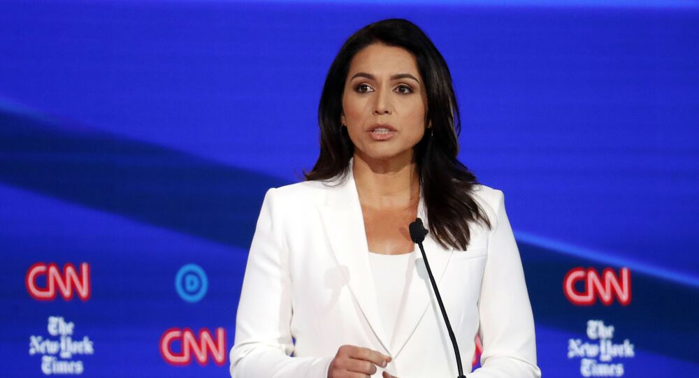 Democratic presidential candidate Rep. Tulsi Gabbard, D-Hawaii, speaks during a Democratic presidential primary debate hosted by CNN/New York Times at Otterbein University, Tuesday, Oct. 15, 2019, in Westerville, Ohio