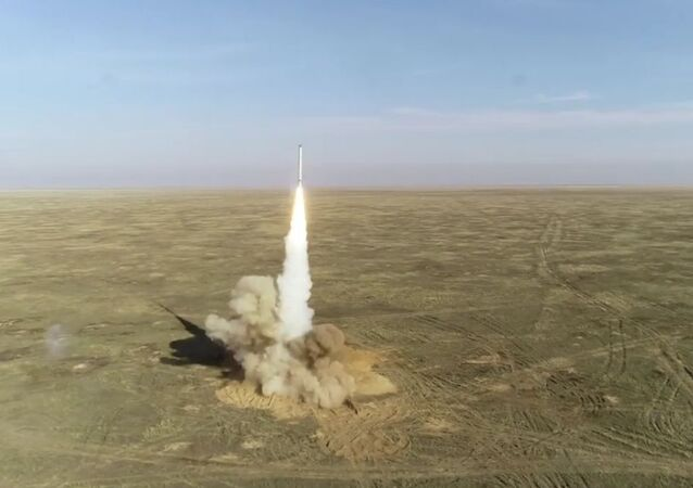 In this handout video grab released by the Russian Defence Ministry, Iskander mobile tactical ballistic missile system fires a cruise missile during the Grom (Thunder) 2019 strategic exercises, in Russia. Editorial use only, no archive, no commercial use