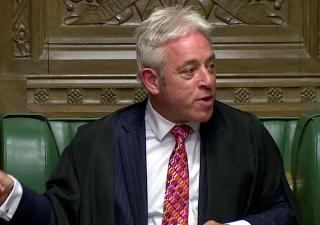 Speaker of the House of Commons John Bercow gestures at the parliament