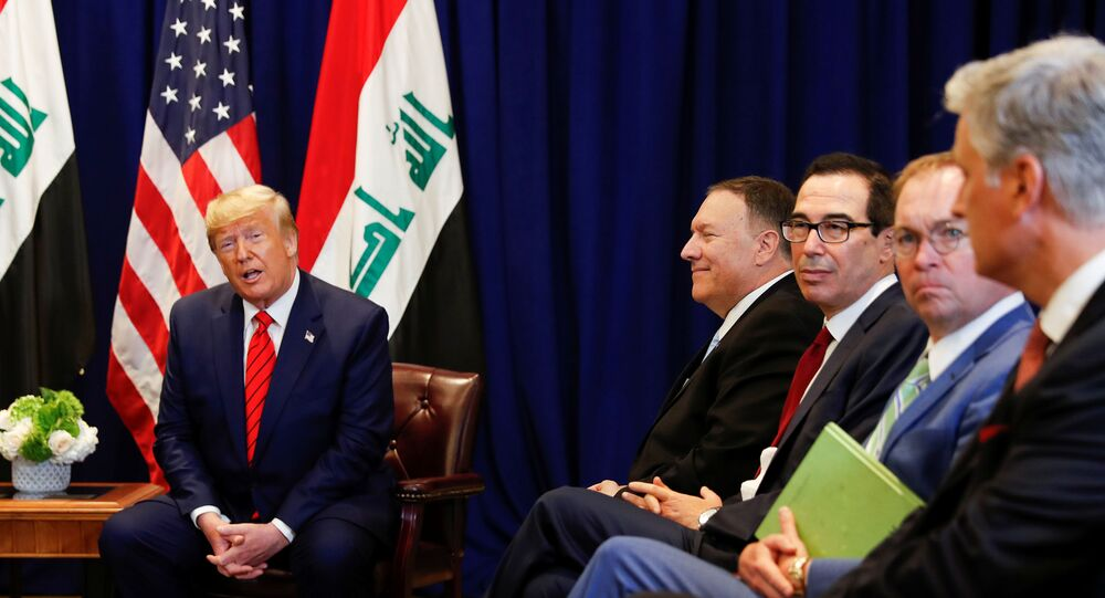 U.S. President Donald Trump speaks next to members of the U.S. delegation -- U.S. Secretary of State Mike Pompeo; Treasury Secretary Steve Mnuchin, Acting White House Chief of Staff Mick Mulvaney and National Security Advisor Robert O'Brien, during a bilateral meeting with Iraq's President Barham Salih on the sidelines of the annual United Nations General Assembly in New York City, New York, U.S., September 24, 2019