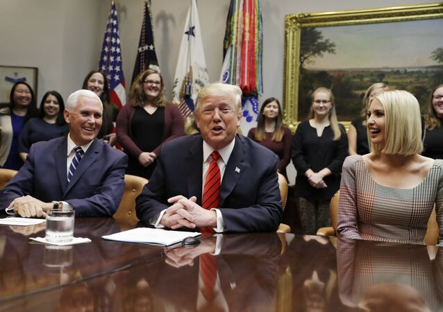 President Donald Trump arrives to speak to NASA astronauts carrying out the first ever all-female spacewalk, during a call from the Roosevelt Room of the White House, Friday, Oct. 18, 2019, in Washington