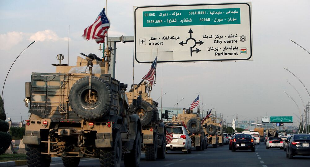 A convoy of U.S. vehicles is seen after withdrawing from northern Syria, in Erbil, Iraq October 21, 2019