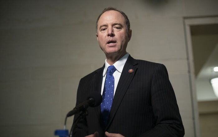 House Intelligence Committee Chairman Rep. Adam Schiff, of Calif., speaks to the media as he returns to a closed door meeting where Ambassador to the European Union Gordon Sondland, testifies as part of the House impeachment inquiry into President Donald Trump, on Capitol Hill in Washington, Thursday, Oct. 17, 2019