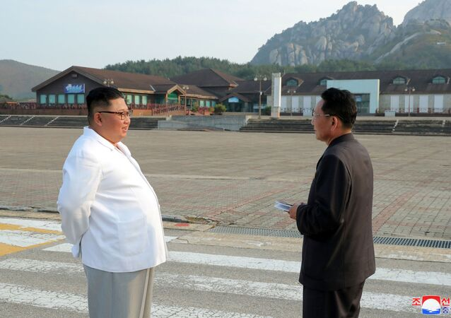 North Korean leader Kim Jong Un inspects the Mount Kumgang tourist resort, North Korea, in this undated picture released by North Korea's Central News Agency (KCNA) on October 23, 2019