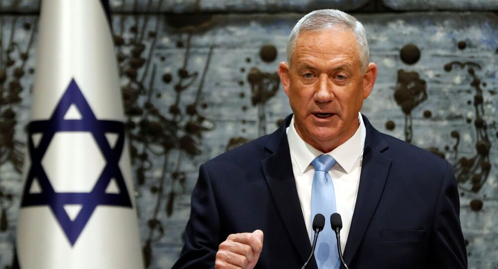 Benny Gantz, leader of Blue and White party, speaks during a nomination ceremony at the President's residency in Jerusalem October 23, 2019