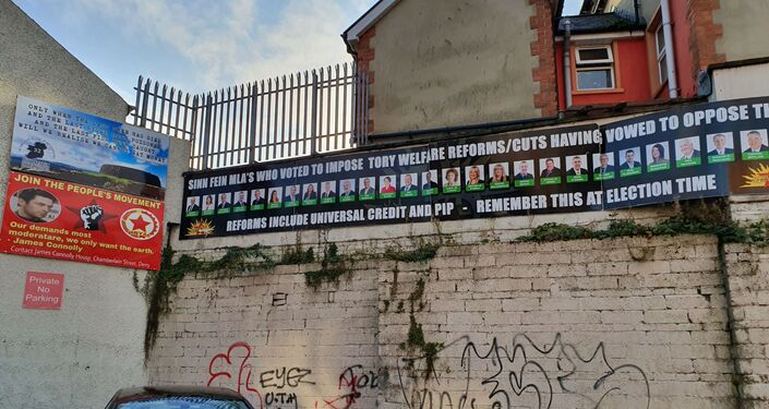A banner put up by the Irish Republican Socialist Party in Derry criticises Sinn Fein politicians who voted for austerity cuts