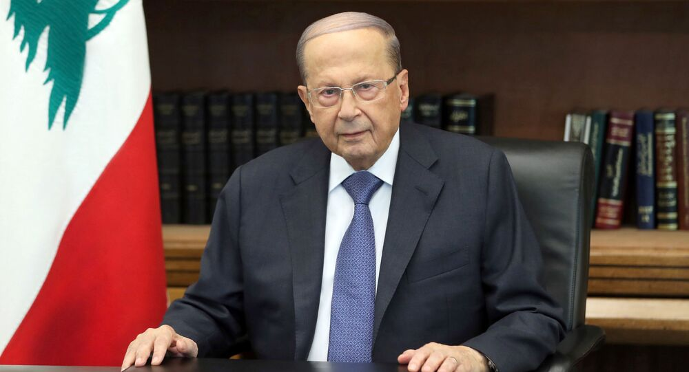 Lebanon's President Michel Aoun is pictured as he addresses the nation at the Baabda palace, Lebanon October 24, 2019