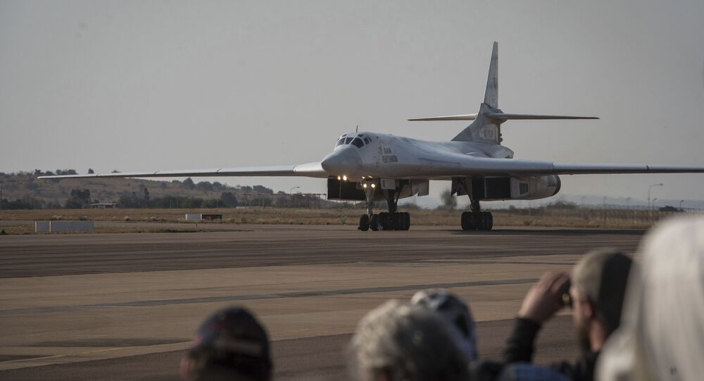 One of two Tu-160 Russian Airforce bombers land at the Waterkloof Airforce Base in Pretoria, South Africa Wednesday, Oct. 23, 2019.