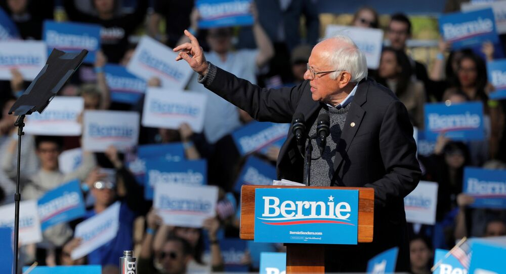 Democratic 2020 U.S. presidential candidate and U.S. Senator Bernie Sanders (I-VT) addresses attendees during the Bernie's Back rally at Queensbridge Park in the Queens Borough of New York City, U.S., October 19, 2019