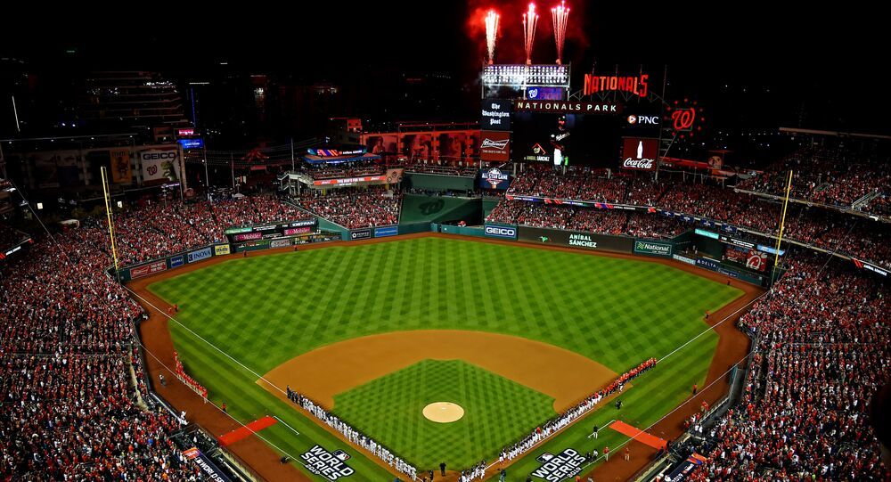 Oct 25, 2019; Washington, DC, USA; An overall view of the stadium during the nation anthem befoire game three between the Houston Astros and the Washington Nationals of the 2019 World Series at Nationals Park.