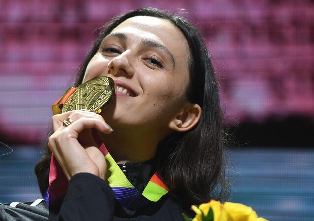 Russian high jumper Mariya Lasitskene at the award ceremony in Doha, Qatar in 2019