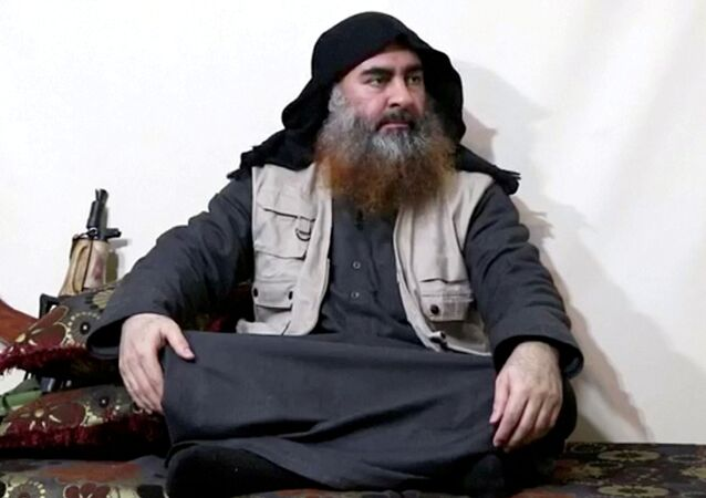 A bearded man with Islamic State leader Abu Bakr al-Baghdadi's appearance speaks in this screen grab taken from video released on April 29, 2019. Islamic State Group/Al Furqan Media Network/