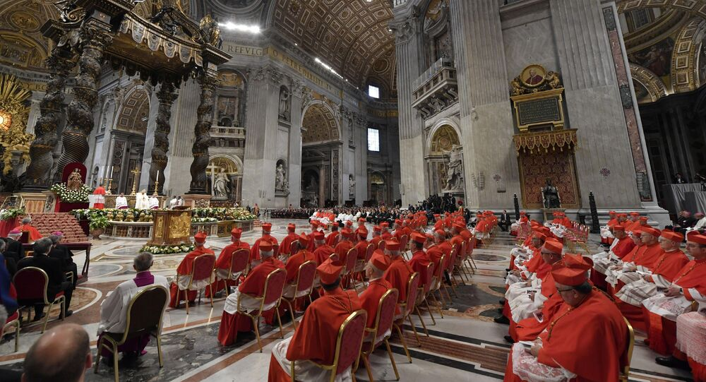 General view of Saint Peter's Basilica during a consistory ceremony to elevate 13 Roman Catholic prelates to the rank of cardinal, at Saint Peter's Basilica at the Vatican, October 5, 2019.