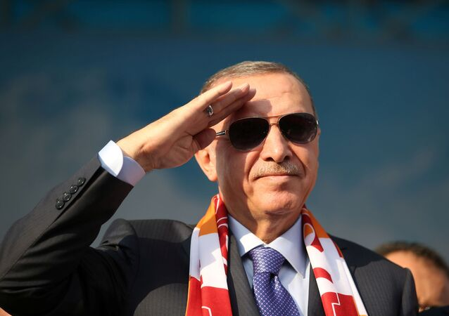 Turkish President Tayyip Erdogan salutes during a gathering in Kayseri, Turkey, October 19, 2019.