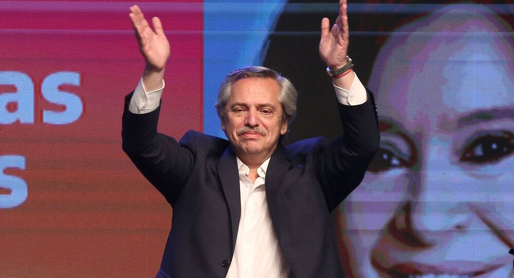 Presidential candidate Alberto Fernandez celebrates his victory after election results in Buenos Aires, Argentina 27 October, 2019.