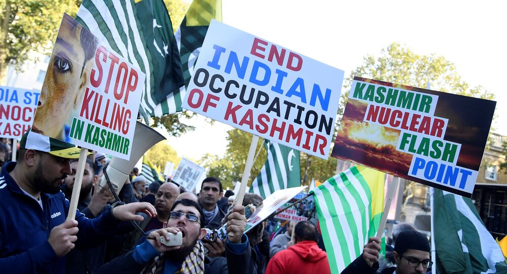 Demonstrators march during a 'Free Kashmir' protest in central London, Britain, October 27, 2019