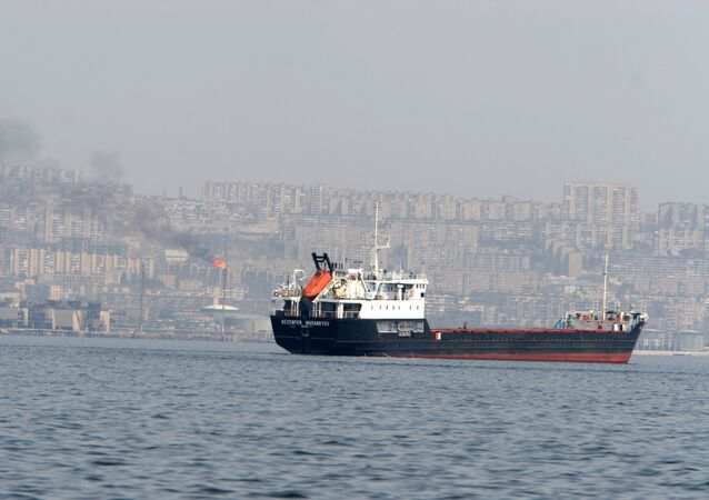 A tanker heading for the open sea - Baku