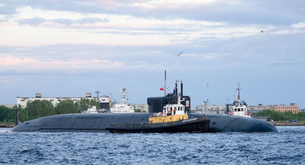 Russian nuclear powered ballistic missile submarine K-549 Knyaz Vladimir (Prince Vladimir) is pictured before its second stage of the factory sea trials in Severodvynsk, Russia. The 557-foot long submarine has been designed to carry at least 16 Bulava nuclear ballistic missiles, which have a maximum reported range of up to 6,800 miles. She will be handed over to the Russian Navy in December 2019.