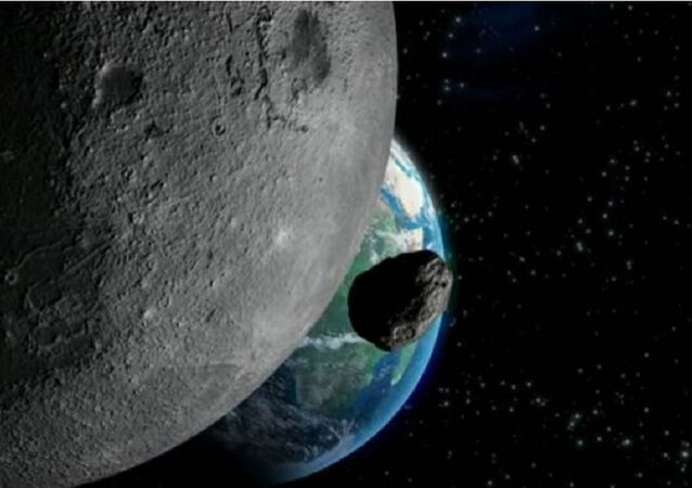 Simulation of an asteroid heading towards earth