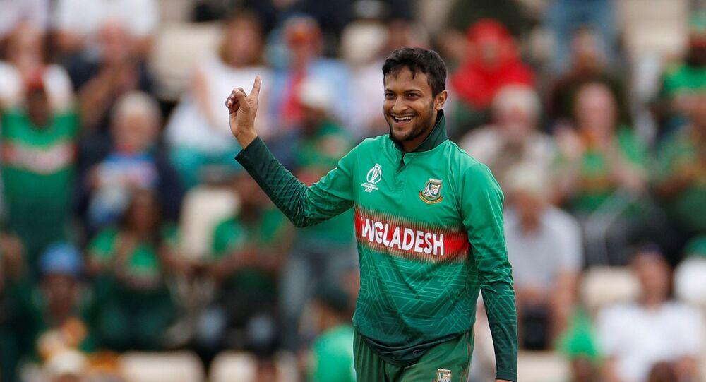 ICC Cricket World Cup - Bangladesh v Afghanistan - The Ageas Bowl, Southampton, Britain - June 24, 2019   Bangladesh's Shakib Al Hasan celebrates taking a wicket
