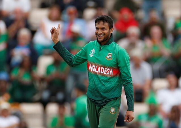 ICC Cricket World Cup - Bangladesh v Afghanistan - The Ageas Bowl, Southampton, Britain - June 24, 2019   Bangladesh's Shakib Al Hasan celebrates taking a wicket
