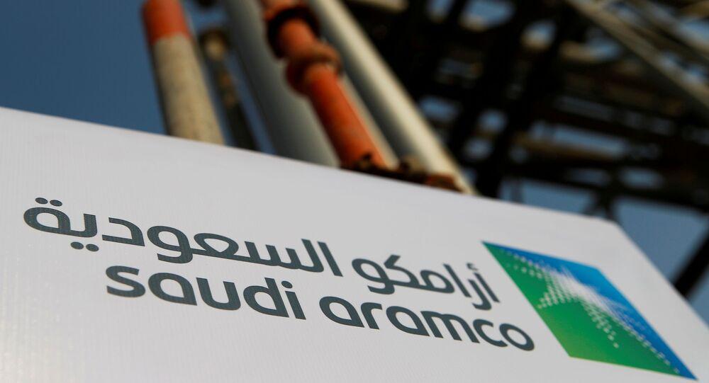 The Saudi Aramco logo is pictured at the company's oil facility in Abqaiq, Saudi Arabia, October 12, 2019