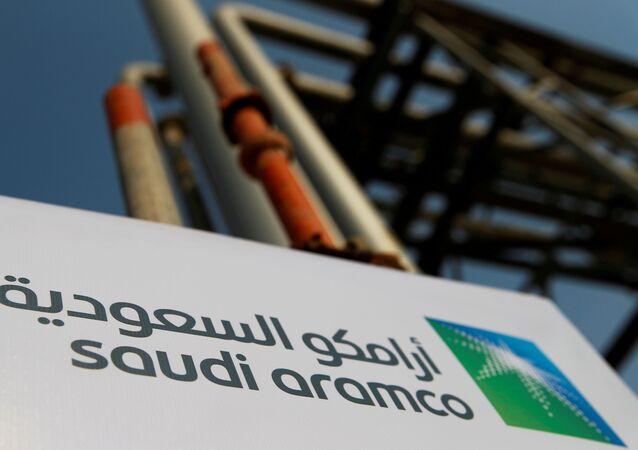 The Saudi Aramco logo is pictured at the company's oil facility in Abqaiq, Saudi Arabia, 12 October 2019