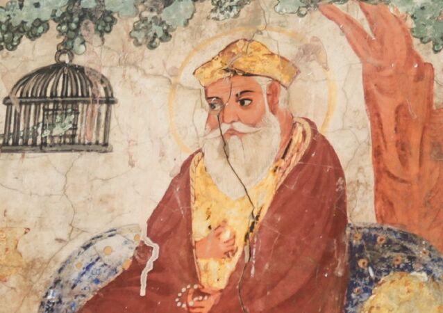 Mural painting of Guru Nanak from Gurdwara Baba Atal Rai