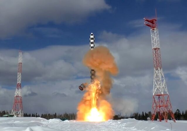 Launch of the Sarmat heavy intercontinental ballistic missile from the Plesetsk launch site