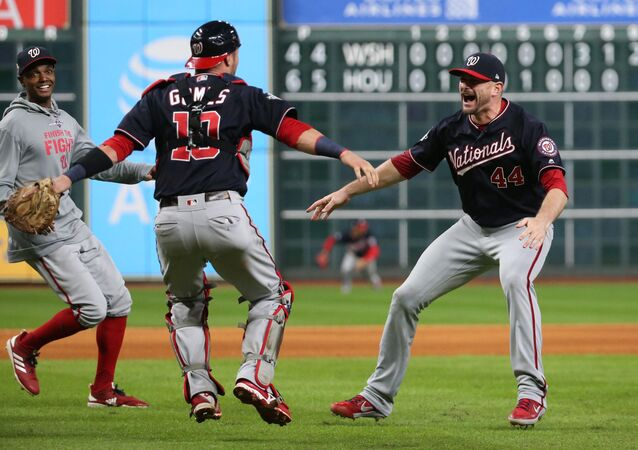 Washington Nationals celebrate after defeating the Houston Astros in game seven of the 2019 World Series at Minute Maid Park.
