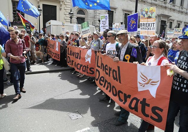 Liberal Democrats protesting on the People's Vote March