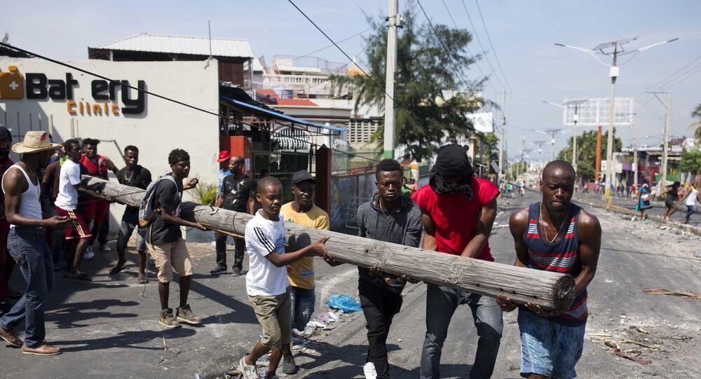 Demonstrators in Port-au-Prince