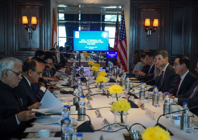A general view of the delegation level meeting of the 7th India-US economic and financial partnership attended by US Secretary of the Treasury Steven Mnuchin (2R), US Under Secretary of the Treasury for International Affairs Brent McIntosh (3R) and India's Finance Minister Nirmala Sitharaman (unseen) in New Delhi on November 1, 2019.
