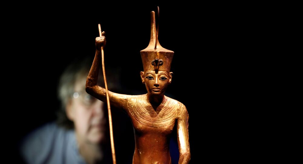 A wooden statue of the King is seen during the media preview of Tutankhamun: Treasures of the Golden Pharaoh exhibition set to open at the Saatchi Gallery in London, Britain November 1, 2019.