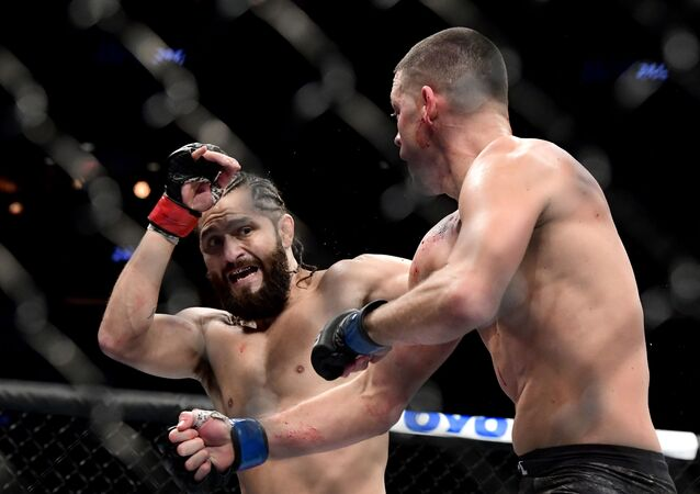 Nate Diaz of the United States (R) fights against Jorge Masvidal of the United States in the Welterweight BMF championship bout during UFC 244 at Madison Square Garden on November 02, 2019 in New York City.