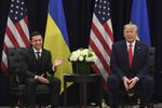 US President Donald Trump and Ukrainian President Volodymyr Zelensky speak during a meeting in New York on September 25, 2019, on the sidelines of the United Nations General Assembly.